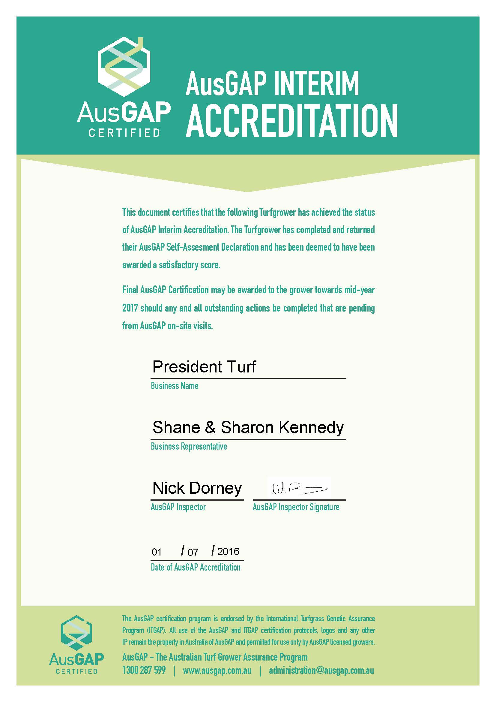 Ausgap certified turf producer of sir walter kikuyu couch zoysia view our ausgap certificate xflitez Image collections